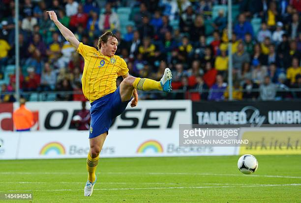 Sweden's Kim Kallstrom runs with the ball during the international friendly football match between Sweden and Iceland at the Gamla Ullevi Stadium in...