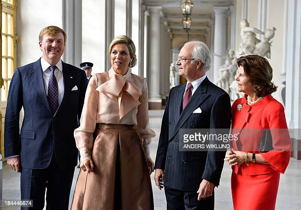 Sweden's King Carl Gustaf and Queen Silvia welcome King WillemAlexander and Queen Maxima of the Netherlands for a lunch at the Royal Palace in...