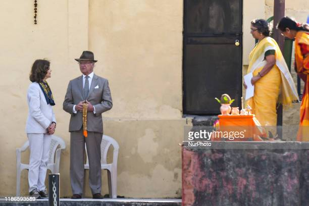 Sweden's King Carl XVI Gustaf and Queen Silvia attend a Ganga Arti Puja a prayer service on the banks of the Ganga river in Rishikesh Uttarakhand...