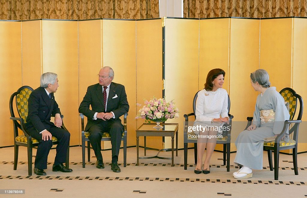 Sweden's King Carl XVI Gustaf and Queen Silvia meet Japan's Emperor Akihito and Empress Michiko in Tokyo, Japan On March 29, 2007- : News Photo