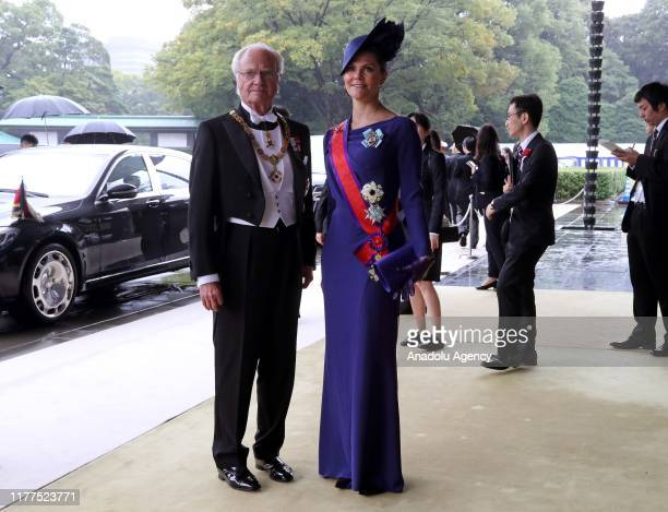 Sweden's King Carl XVI Gustaf and Victoria , Crown Princess of Sweden arrive at the Imperial Palace to attend the proclamation ceremony of Japan's...