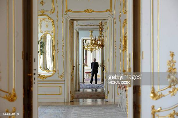 Sweden's King Carl XVI Gustaf arrives for a meeting with Czech President at Prague Castle on May 9 2012 AFP PHOTO / MICHAL CIZEK