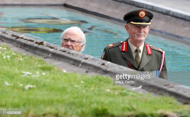 Sweden's King Carl XVI Gustaf arrives to lay a wreath in the Garden of Remembrance in Dublin on May 22 on the first day of a three-day State Visit to...