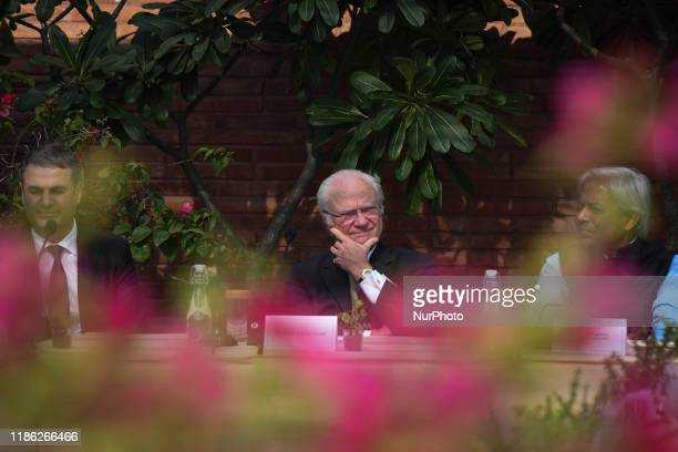 Sweden's King Carl XVI Gustaf attends a program on tackling emissions and air pollution in New Delhi India on 3 December 2019
