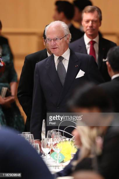 Sweden's King Carl XVI Gustaf attends the banquet hosted by the Prime Minister of Japan Shinzo Abe and his spouse on October 23 2019 in Tokyo Japan