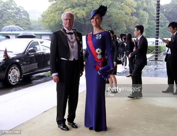 Sweden's King Carl XVI Gustaf, left, and Crown Princess Victoria arrive at the Imperial Palace to attend the proclamation ceremony of Japan's Emperor...