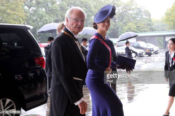 Sweden's King Carl XVI Gustaf left and Crown Princess Victoria arrive at the Imperial Palace to attend the proclamation ceremony of Japan's Emperor...