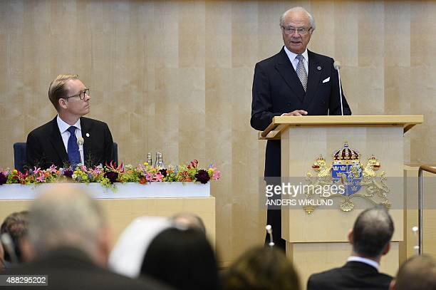 Sweden's King Carl XVI Gustaf opens the Swedish annual parliament session at the Swedish parliament Riksdagen in Stockholm on September 15 2015 AFP...