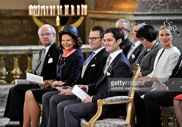 Sweden's King Carl XVI Gustaf Queen Silvia Prince Daniel Prince Carl Philip Olle Westling Ewa Westling and Anna Soederstroem attend a special Te Deum...