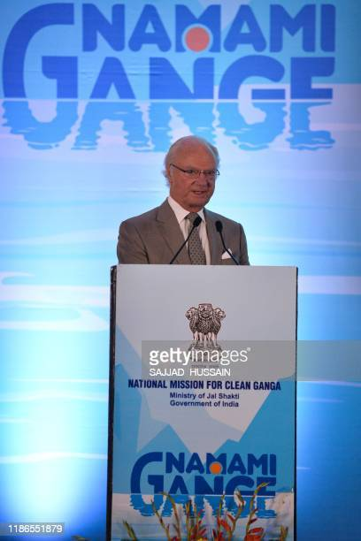 Sweden's King Carl XVI Gustaf speaks after inaugurating the Sarai sewage treatment plant in Haridwar on December 5 2019