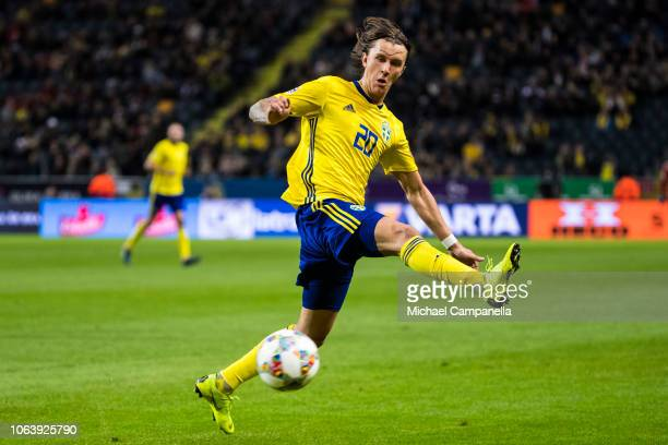 Sweden's Kristoffer Olsson during the UEFA Nations League B group two match between Sweden and Russia at Friends Arena on November 20 2018 in Solna...