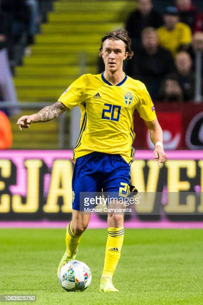 Sweden's Kristoffer Olsson runs with the ball during the UEFA Nations League B group two match between Sweden and Russia at Friends Arena on November...