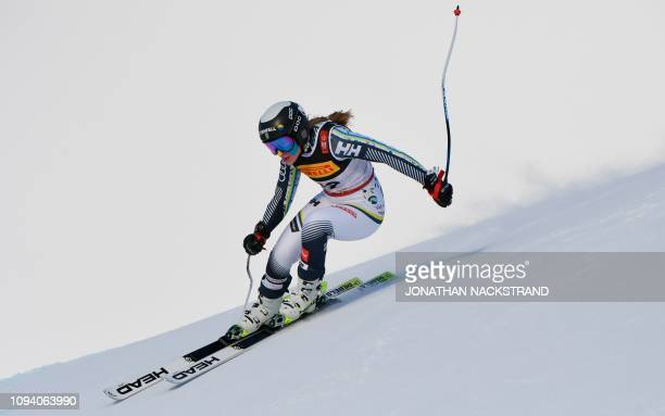 Swedens Lin Ivarsson competes during the women's Super G event of the 2019 FIS Alpine Ski World Championships at the National Arena in Are, Sweden,...