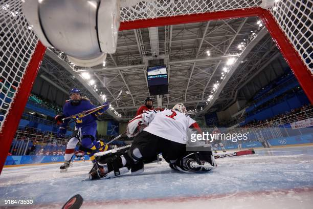 Sweden's Linus Omark scores a goal in the women's preliminary round ice hockey match between Japan and Sweden during the Pyeongchang 2018 Winter...