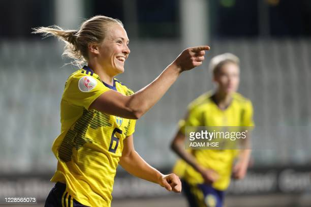 Sweden's Magdalena Eriksson celebrates after scoring during the UEFA Women's EURO 2021 group F qualifying soccer match between Sweden and Hungary at...
