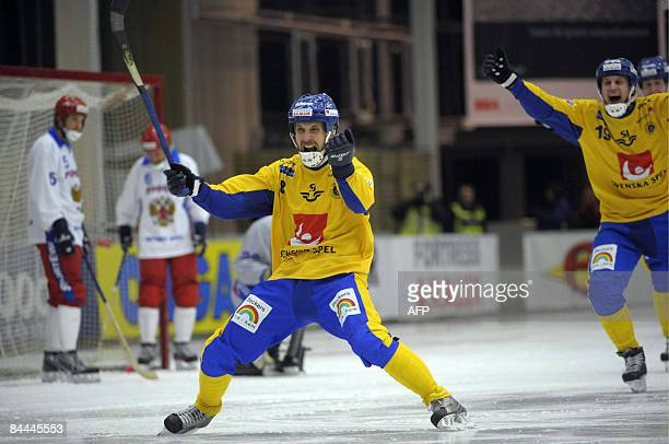 Sweden's Marcus Bergvall jubilates after 61 against Russia in the final of the Bandy World Championship in Vasteras Sweden on January 25 2009...