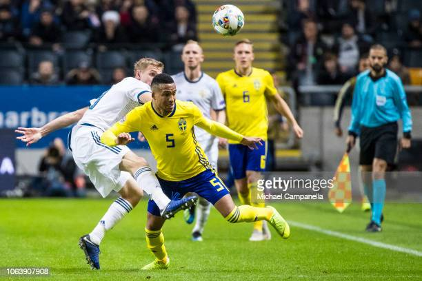 Sweden's Martin Olsson fights for the ball during the UEFA Nations League B group two match between Sweden and Russia at Friends Arena on November 20...