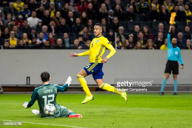 Sweden's Martin Olsson goal is ruled offside during the UEFA Nations League B group two match between Sweden and Russia at Friends Arena on November...