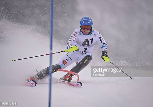 Sweden's Mattias Hargin races down the course during the men's Slalom on the third day of the famous Hahnenkamm at the FIS SKI World Cup in...