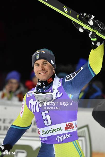 Sweden's Matts Olsson celebrates during the podium ceremony of the FIS Alpine World Cup Men's Parallel Giant Slalom on December 18 2017 in Alta Badia...