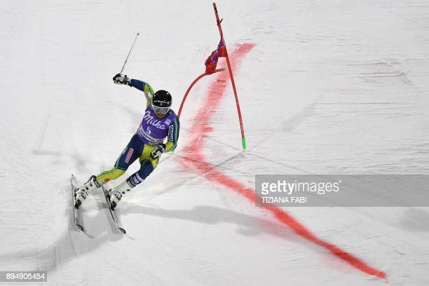 TOPSHOT Sweden's Matts Olsson competes in the FIS Alpine World Cup Men's Parallel Giant Slalom on December 18 2017 in Alta Badia Italian Alps / AFP...