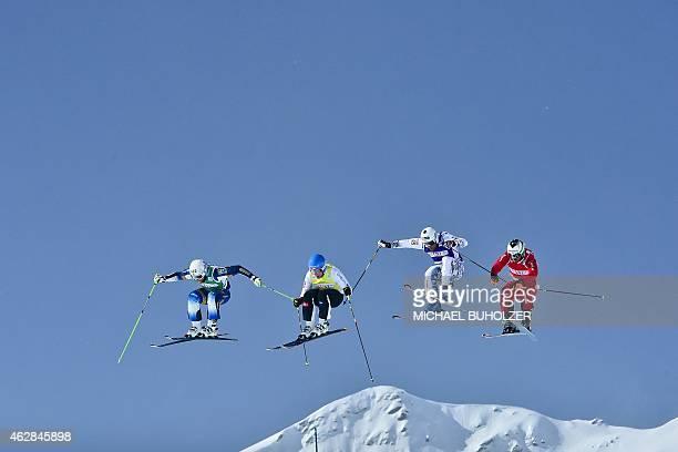 Sweden's Michael Forslund Finland's Jouni Pellinen France's Arnaud Bovolenta and Switzerland's Alex Fiva during the Men's Snow Ski Cross Final at FIS...
