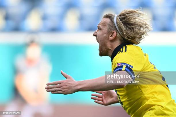 Sweden's midfielder Emil Forsberg celebrates after scoring a goal during the UEFA EURO 2020 Group E football match between Sweden and Slovakia at...