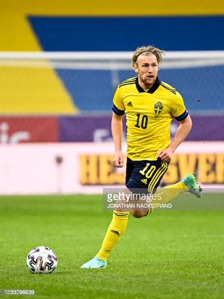 Sweden's midfielder Emil Forsberg controls the ball during the friendly football match Sweden vs Armenia on June 5 in Solna, in preparation for the...