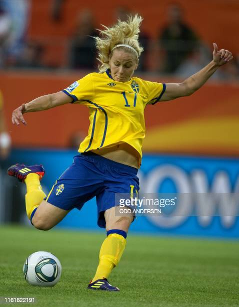 Sweden's midfielder Lisa Dahlkvist plays the ball during the Group C match of the FIFA women's football World Cup Sweden vs USA on July 6, 2011 in...