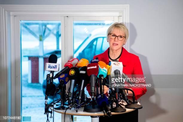 Sweden's Minister for Foreign Affairs Margot Wallström addresses members of the media at Johannesberg Castle in Rimbo north of Stockholm Sweden on...
