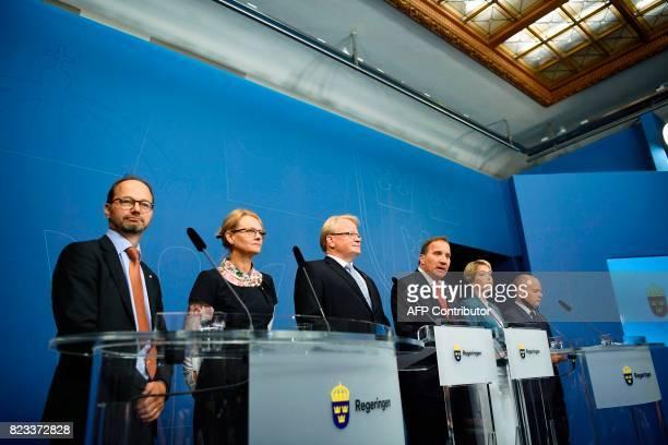 Sweden's Minister for Infrastructure Tomas Eneroth Minister for Migration Helene Fritzon Minister of Defence Peter Hultqvist Prime minister Stefan...