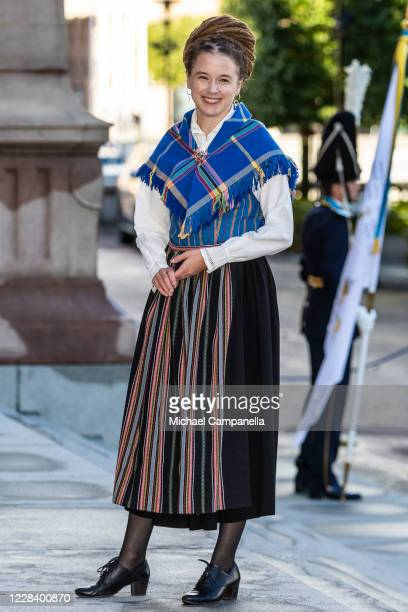 Swedens Minister of Culture Amanda Lind attends the opening of the Swedish Parliament for the fall session at the Riksdag Parliament building on...