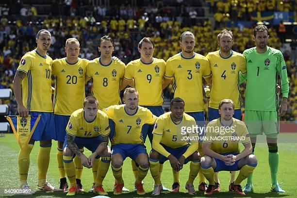 Sweden's national football players, Sweden's defender Victor Nilsson-Lindelof, Sweden's midfielder Sebastian Larsson, Sweden's defender Martin Olsson...