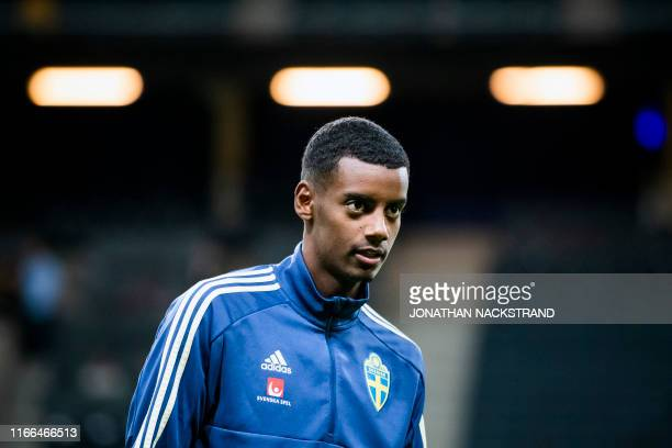 Sweden's national football team forward Alexander Isak takes part in a training session on the eve of the UEFA Euro 2020 qualifier Group F football...