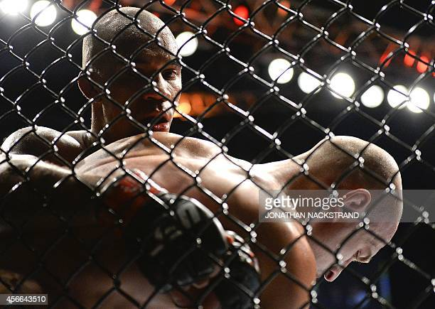 Sweden's Nico Musoke and Russia's Alexander Yakovlev fight in the ring during the Ultimate Fighting Championship Fight Night at the Globe Arena in...