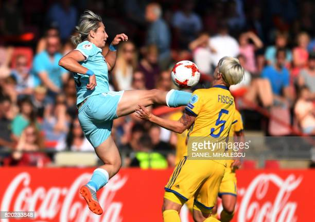 Sweden's Nilla Fischer vies with Russia's Elena Danilova during the UEFA Womens Euro 2017 tournament football match between Sweden and Russia at...