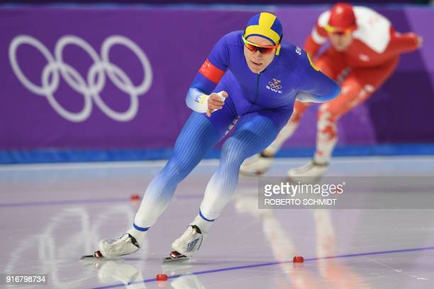 Sweden's Nils Van Der Poel leads Poland's Adrian Wielgat during the men's 5,000m speed skating event during the Pyeongchang 2018 Winter Olympic Games...
