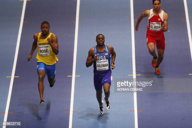 Sweden's Odain Rose US athlete Christian Coleman and Malta's Jacob El Aida compete in the men's 60m round 1 event at the 2018 IAAF World Indoor...