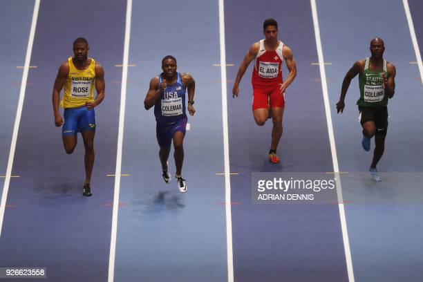 Sweden's Odain Rose US athlete Christian Coleman Malta's Jacob El Aida and St Kitts and Nevis's Kim Collins compete in the men's 60m round 1 event at...