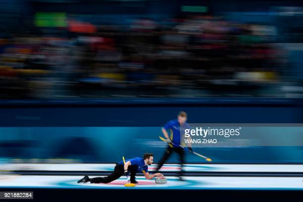 Sweden's Oskar Eriksson throws the stone during the curling men's round robin session between Sweden and Norway during the Pyeongchang 2018 Winter...