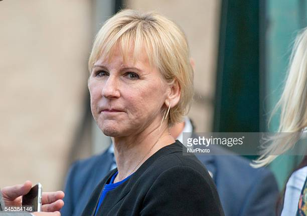 Sweden's outspoken Foreign Minister Margot Wallström attends Prime Minister Stefan Löfven's speech at Almedalen Week in Visby Sweden on July 5 2016...