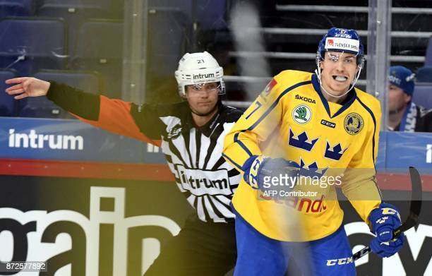 Sweden's Paer Lindholm scored 0-1 goal on the second period during the match between Canada and Sweden at the Karjala Tournament as part of the Euro...