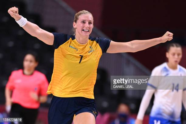 Sweden's pivot Linn Blohm celebrates after scoring during the women's preliminary round group B handball match between Sweden and Russia of the Tokyo...