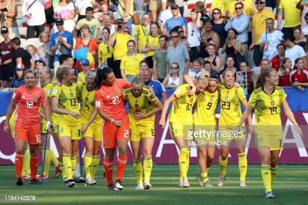 Sweden's players celebrate their victory at the end of the France 2019 Women's World Cup third place final football match between England and Sweden...