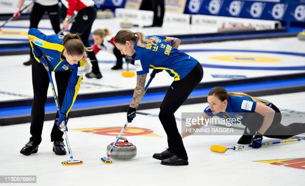 Sweden's players compete in the first round match Sweden vs. China at the LGT World Women's Curling Championship in Silkeborg, Denmark, on March 16,...