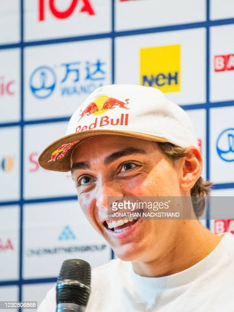 Sweden's pole vaulter Armand Duplantis smiles during a press conference in Stockholm, Sweden, on May 10 ahead of the Diamond League gala. - The 2021...