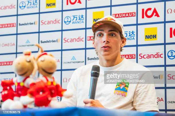 Sweden's pole vaulter Armand Duplantis speaks during a press conference in Stockholm, Sweden, on May 10 ahead of the Diamond League gala. - The 2021...