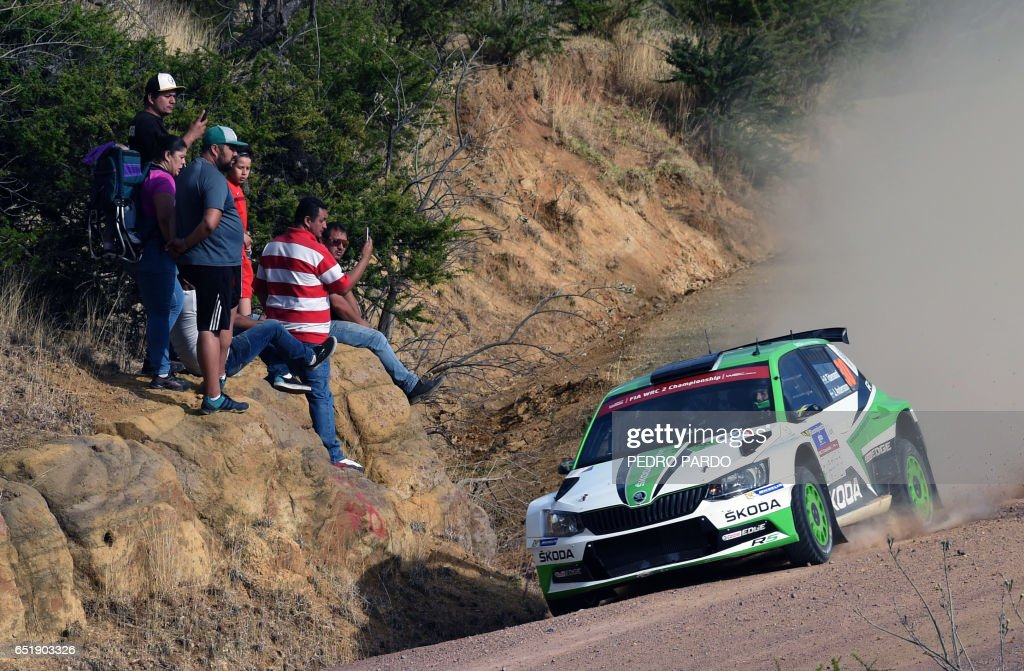 Sweden's Pontus Tidemand and his co-driver Jonas Andersson compete in their Skoda Fabia R5 during the 2017 FIA World Rally Championship in Leon, Guanajuato state, Mexico, on March 10, 2017. /