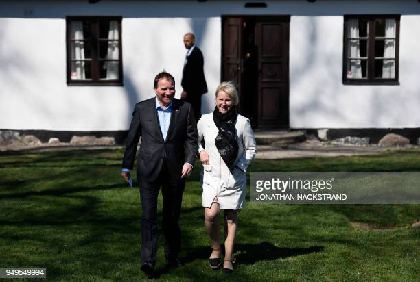 Sweden's Prime Minister Stefan Löfven and Sweden's Foreign Minister Margot Wallström arrive to speak to the press during the annual informal working...