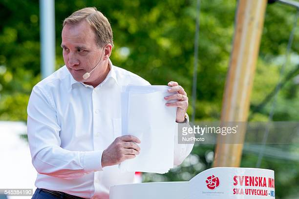 Sweden's Prime Minister Stefan Löfven speaks at Almedalen week in Visby Sweden on July 5 2016